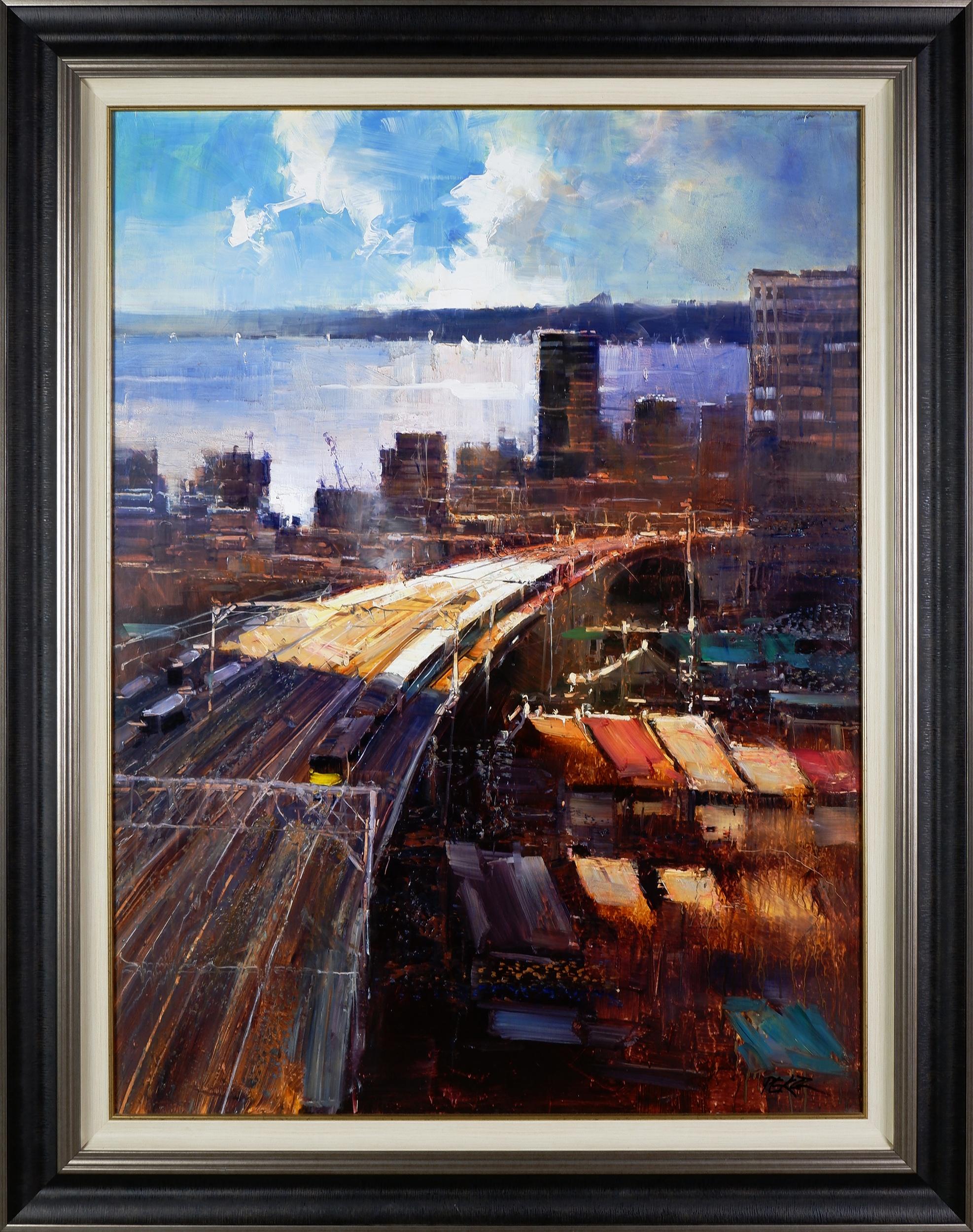 'Herman Pekel (born 1956), Untitled (Harbour View), Oil on Board, 120 x 90 cm'