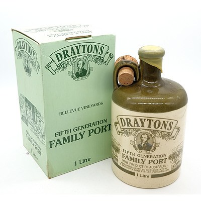 Draytons Fifth Generation Family Port - One Litre in Stoneware Decanter and Presentation Box