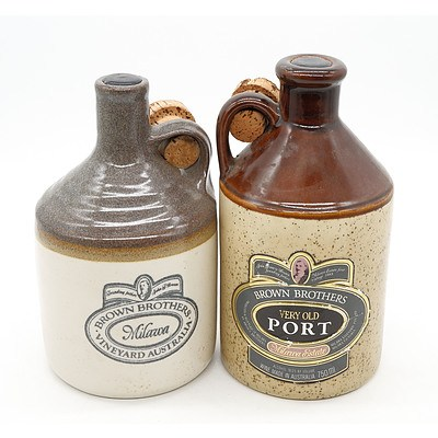 Two Brown Brothers Milawa Ports - 750 ml in Stoneware Decanters (2)
