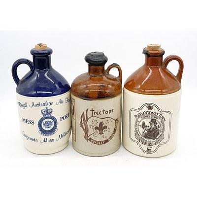 Three Vintage Stoneware Port Decanters - No Contents (3)