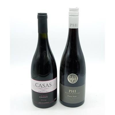 Phi Single Vineyard 2010 Pinot Noir and Casas Margaret River 2002 Shiraz - Lot of Two Bottles (2)