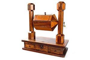 Victorian Mahogany and Brazilian Rosewood Revolving Ballot Box - Mid to Late 19th Century
