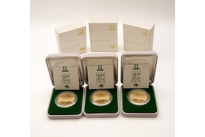 Three RAM 1988 $5 Proof Parliament House Coins