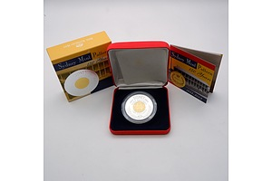 RAM Sydney Mint Pattern 150 Years .999 Silver and 24ct Gold Plated $10 Coin