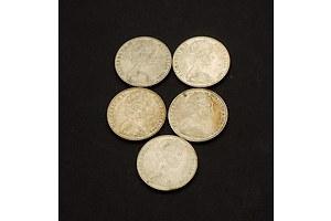 Five Australian 1966 50 Cent Coins