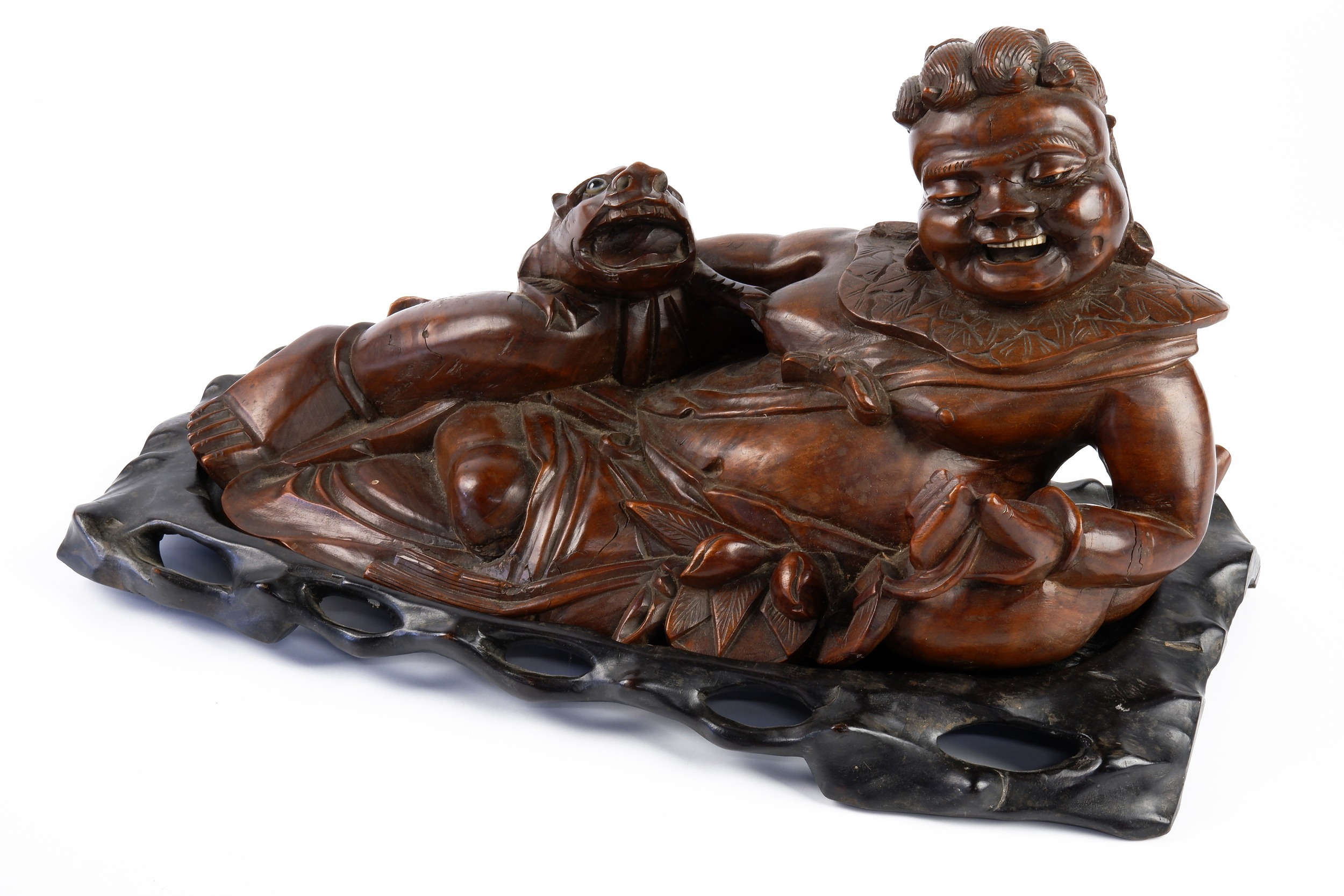 'Large Antique Chinese Hardwood Carving of a Reclining Sage, Late 19th to Early 20th Century'