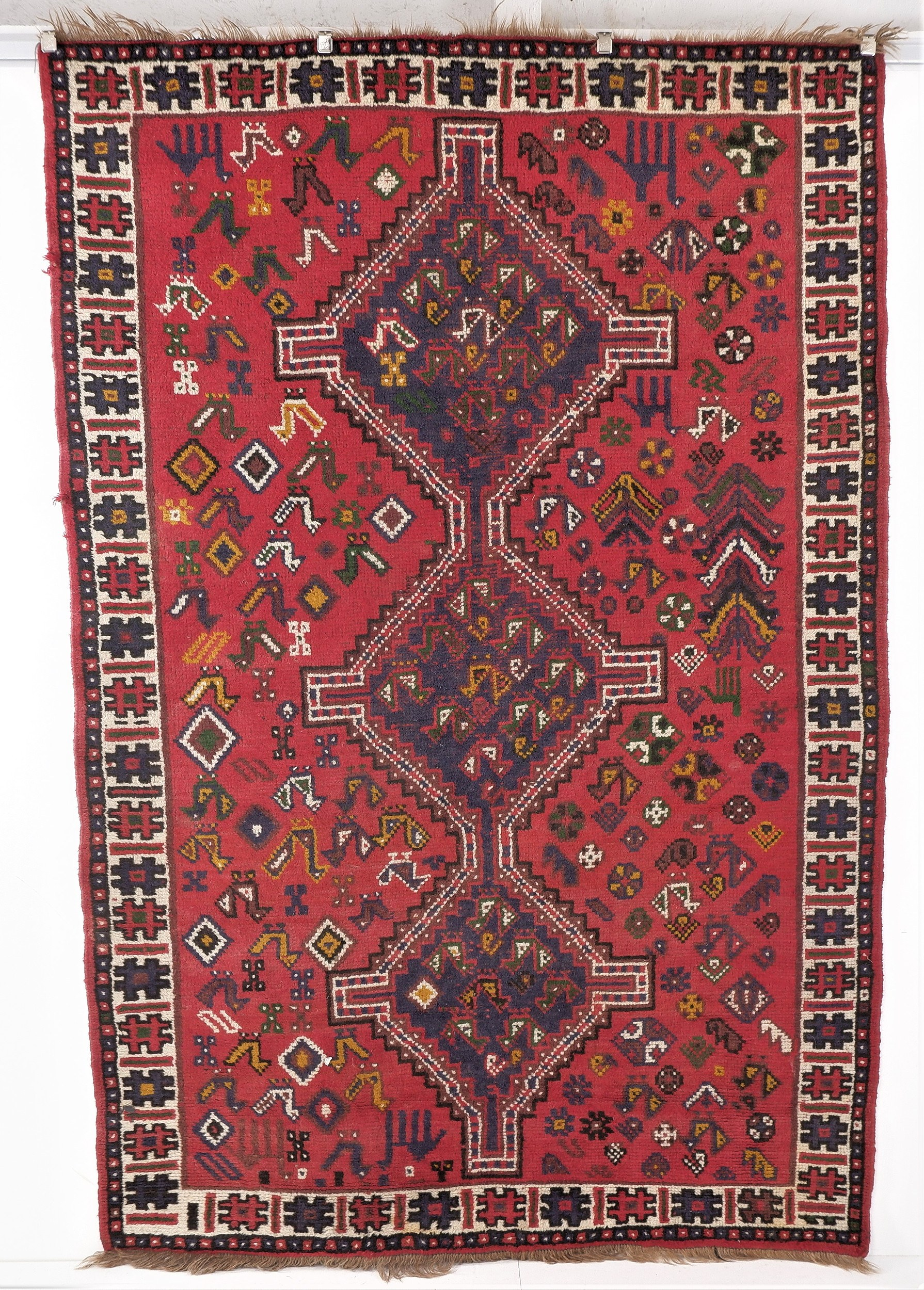 'Vintage Persian Qashqai Hand Knotted Wool Rug '