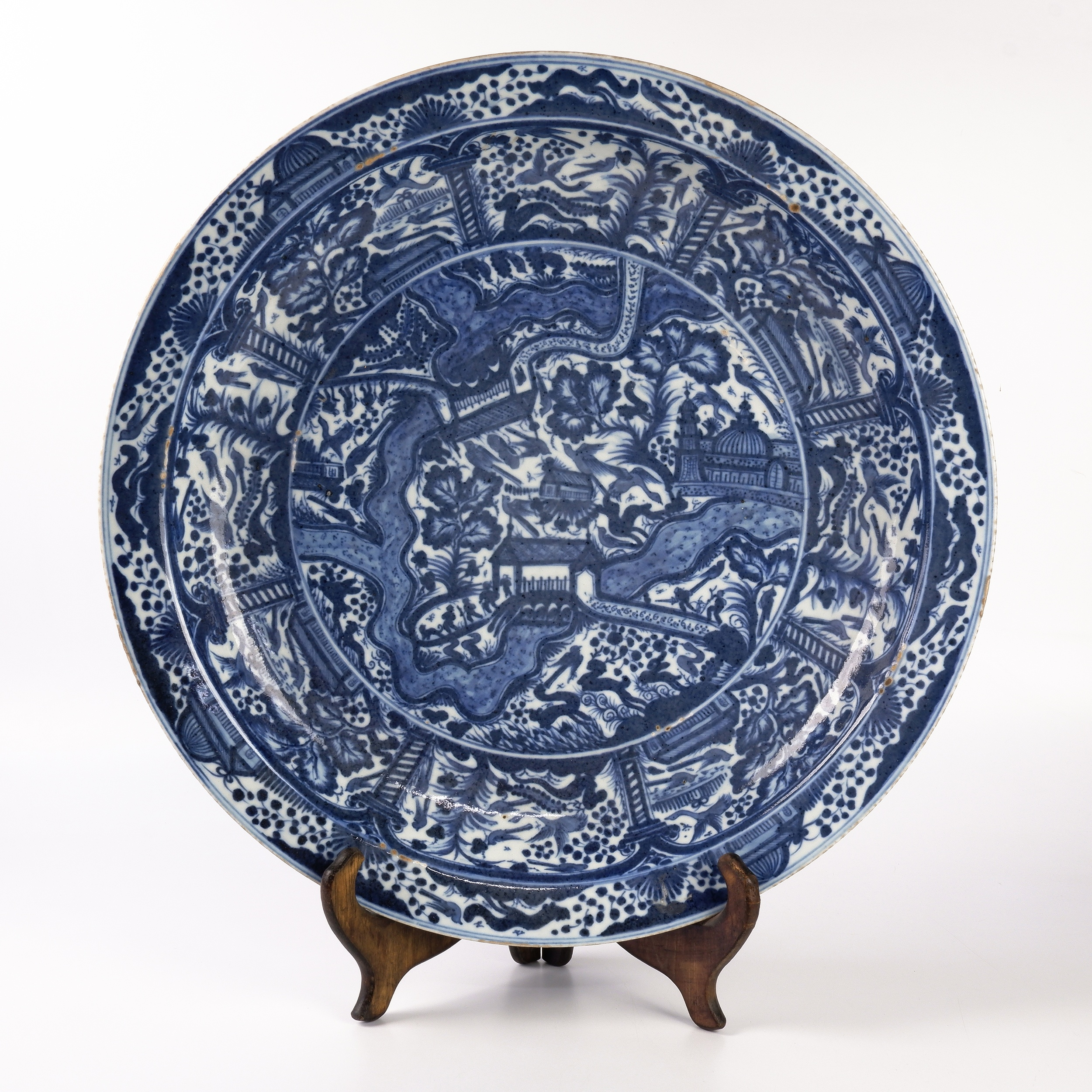 'Rare Large Antique Chinese Blue and White Charger for the Persian Market'