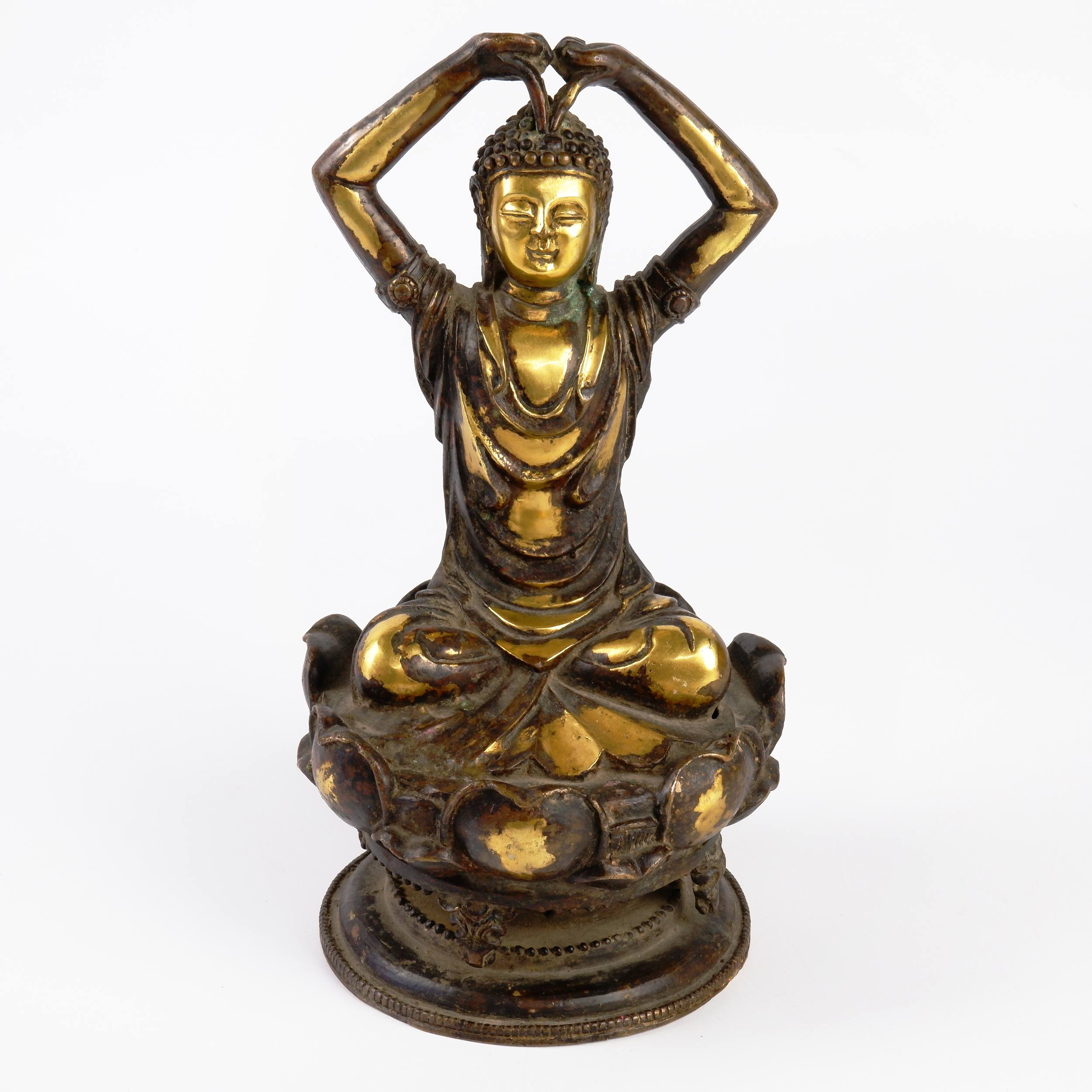 'Chinese Liao Style Figure of Buddha Jalandhara with Arms Held Above His Head'