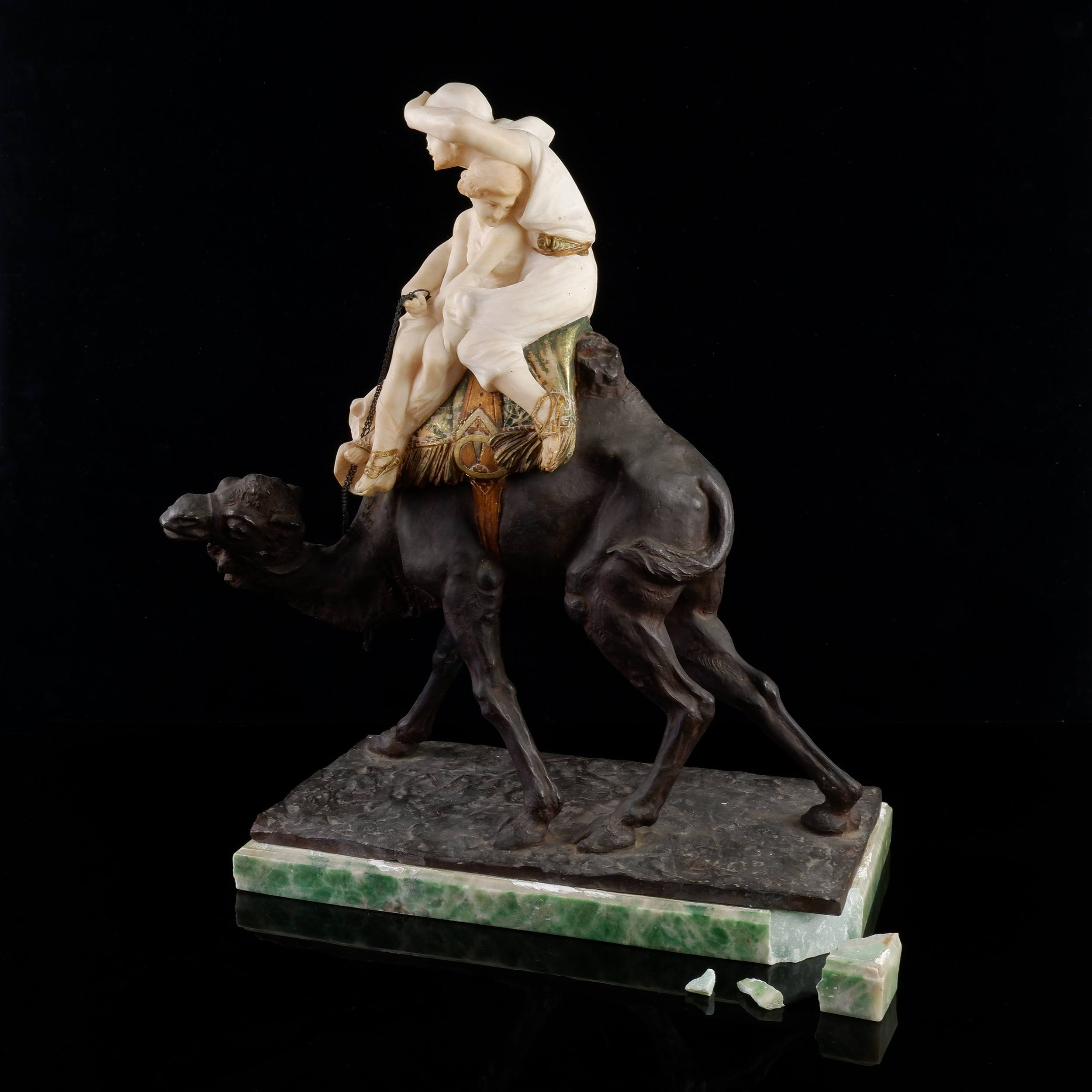'Emilio Fiaschi (Italian 1858-1941) Orientalist Cold Painted Bronze and Alabaster Model of an Arabian Cameleer, Late 19th Century'