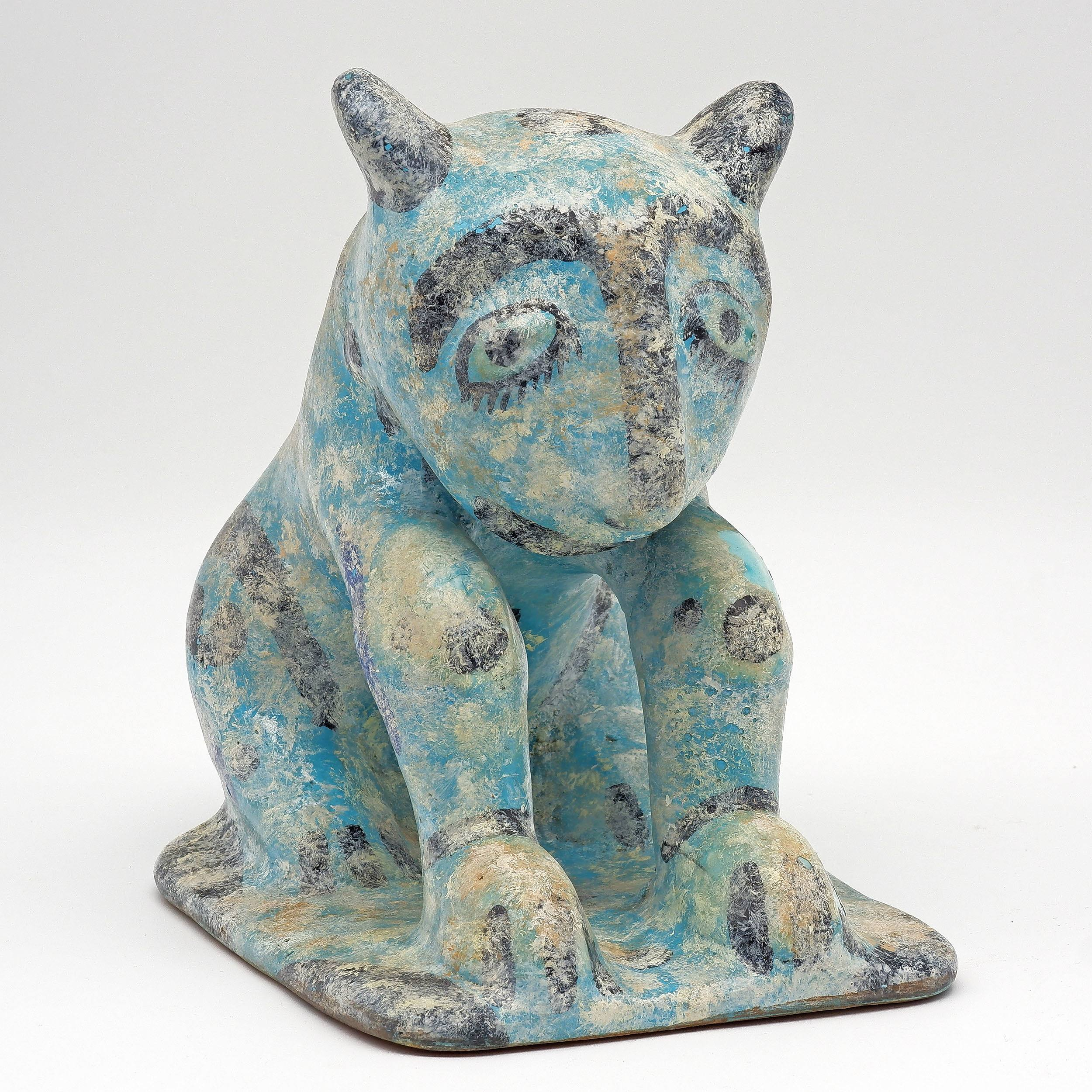 'Persian Kashan Style Turquoise Glazed Pottery Model of a Cat'