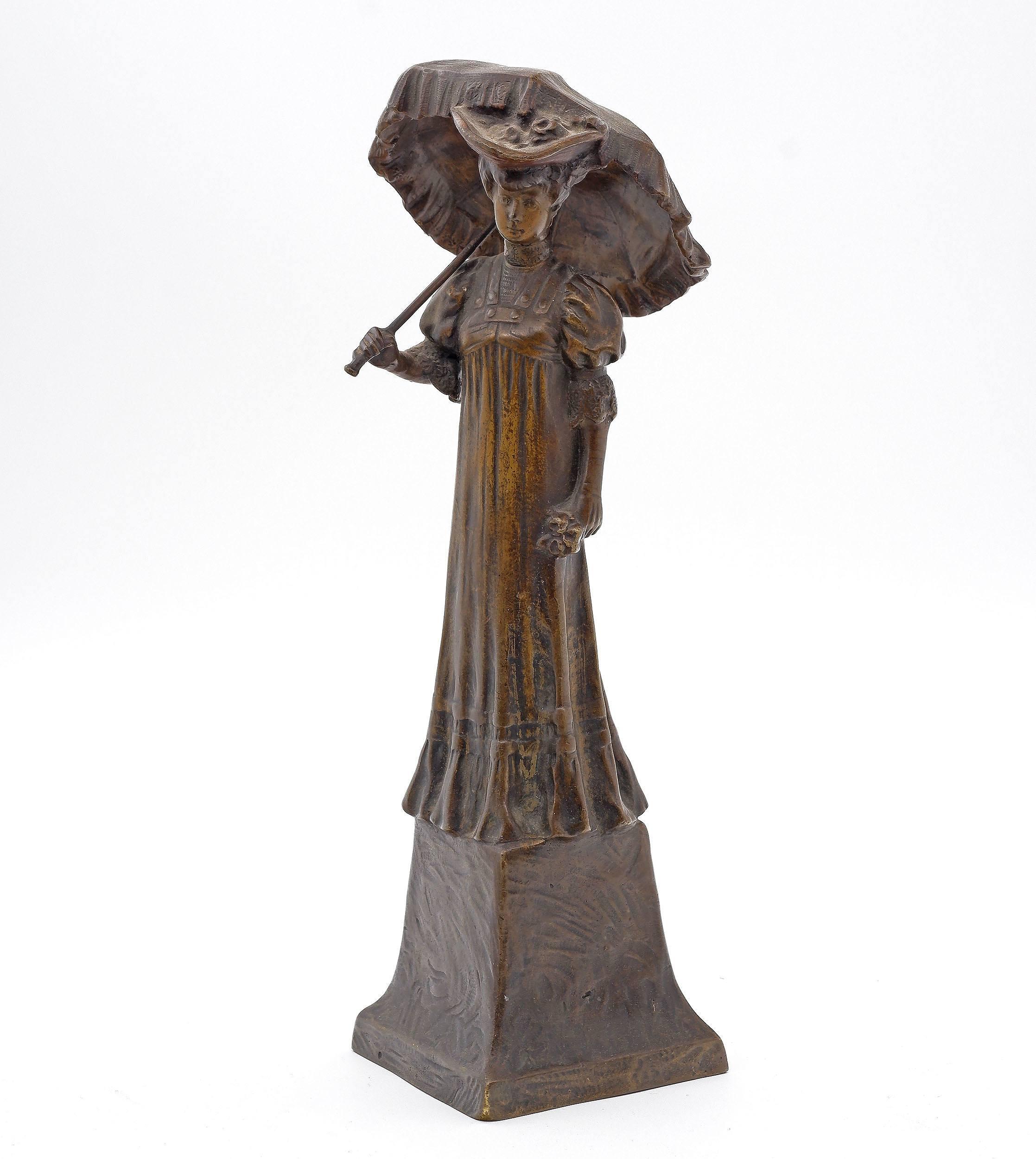 'Austrian Art Nouveau Bronze Figure of a Lady with Parasol, Circa 1900'