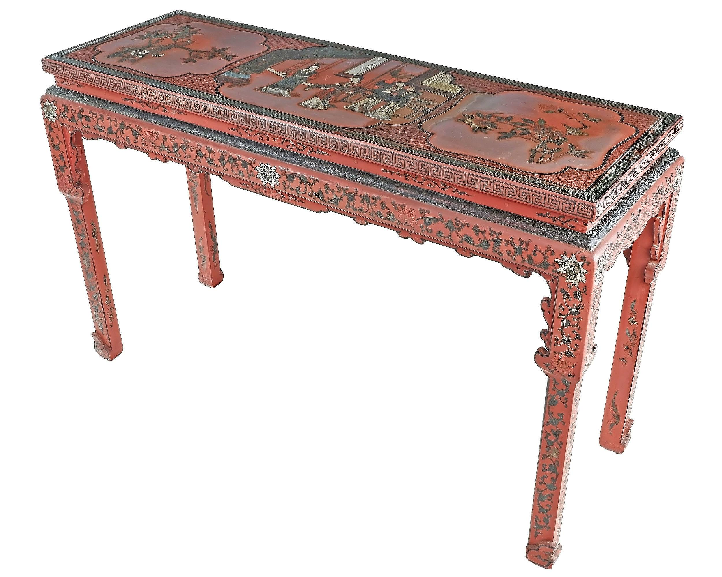 'Chinese Red and Polychrome Lacquered Altar Table with Incised Borders and Details, 20th Century'