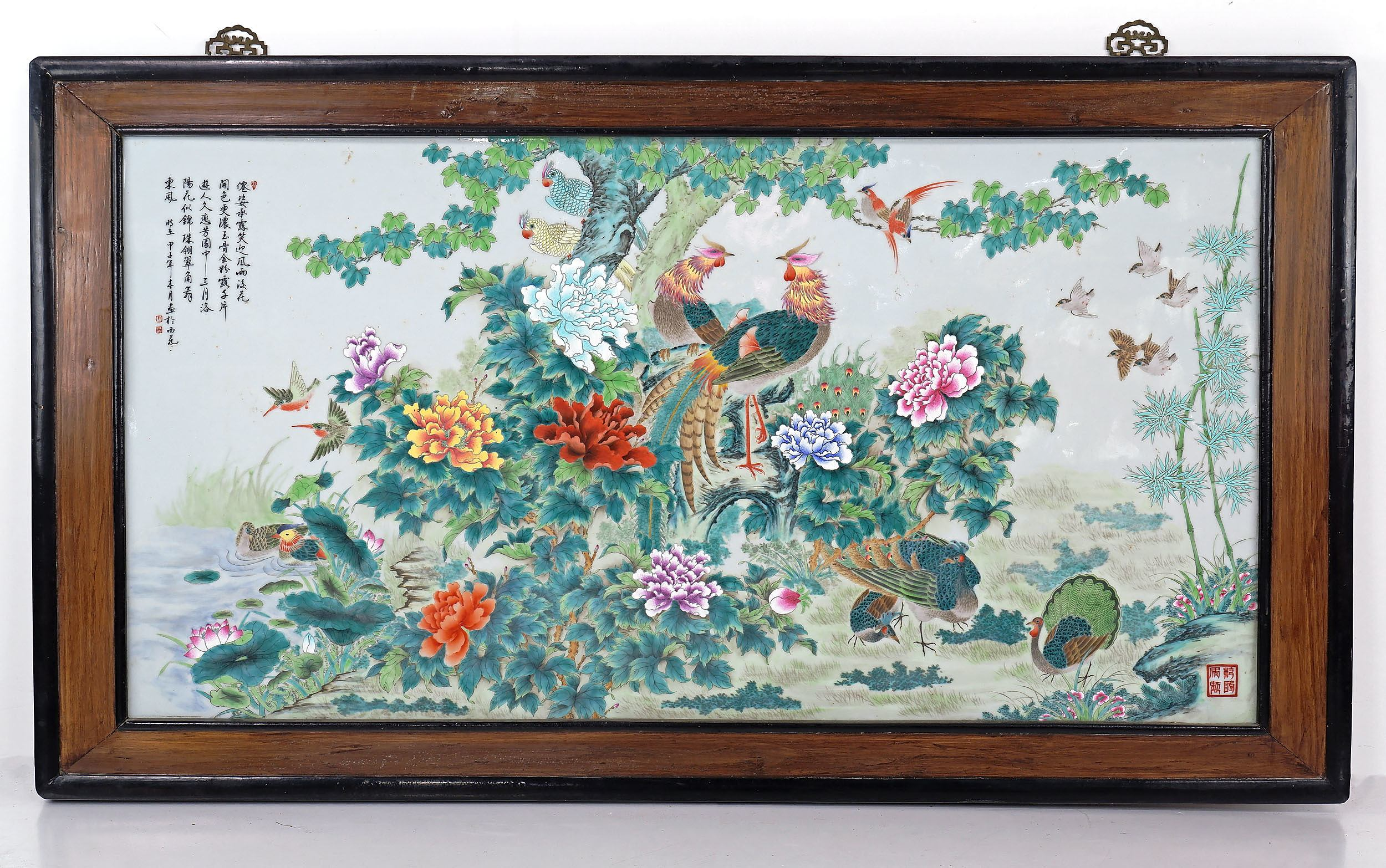 'Large Chinese Famille Rose Porcelain Plaque Hand Painted with Pheasants and Exotic Birds in a Peony Garden, 20th Century'