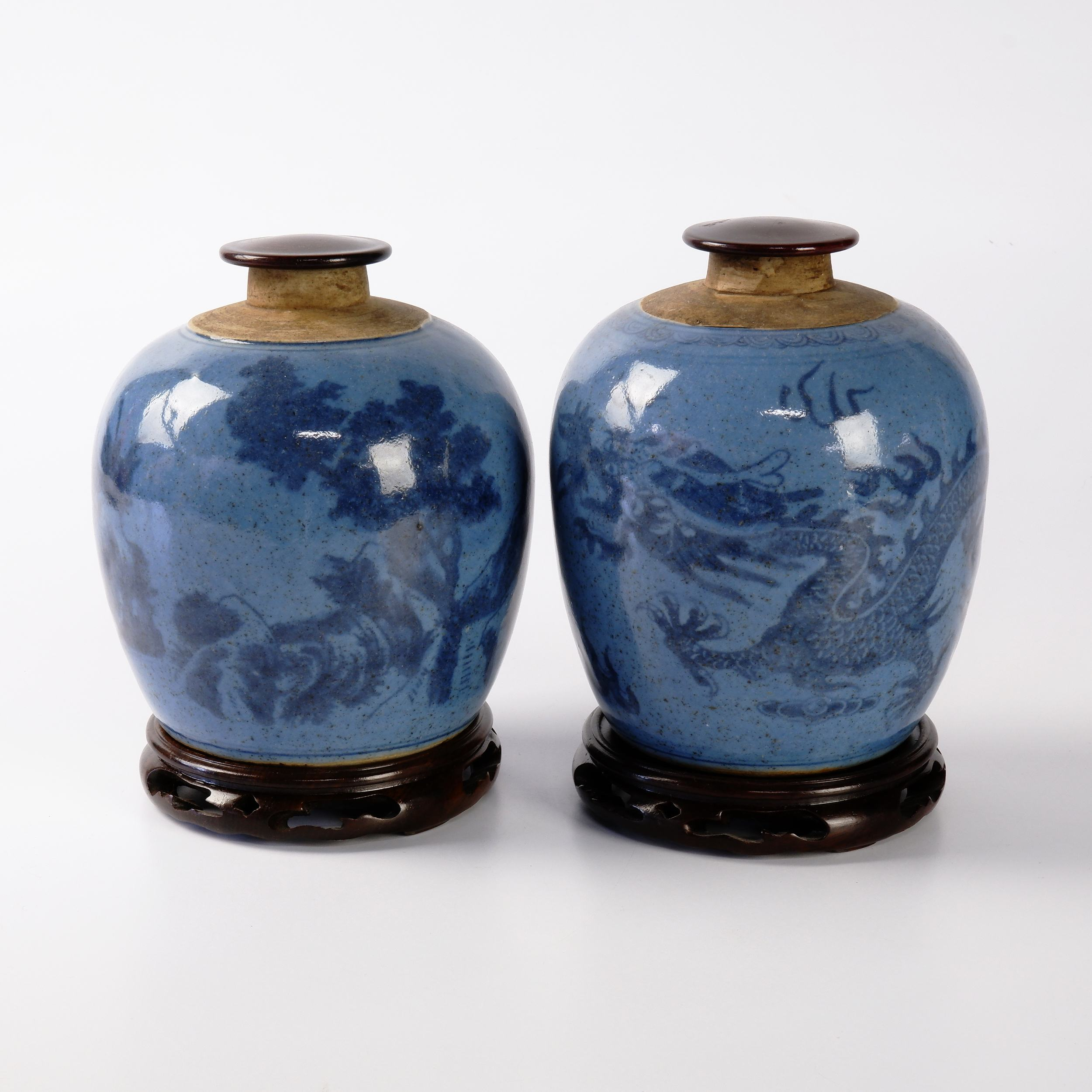 'Pair of Antique Chinese Pale Blue Ground Ginger Jars Decorated with Dragon in Clouds and Mountain Landscapes, 19th Century'