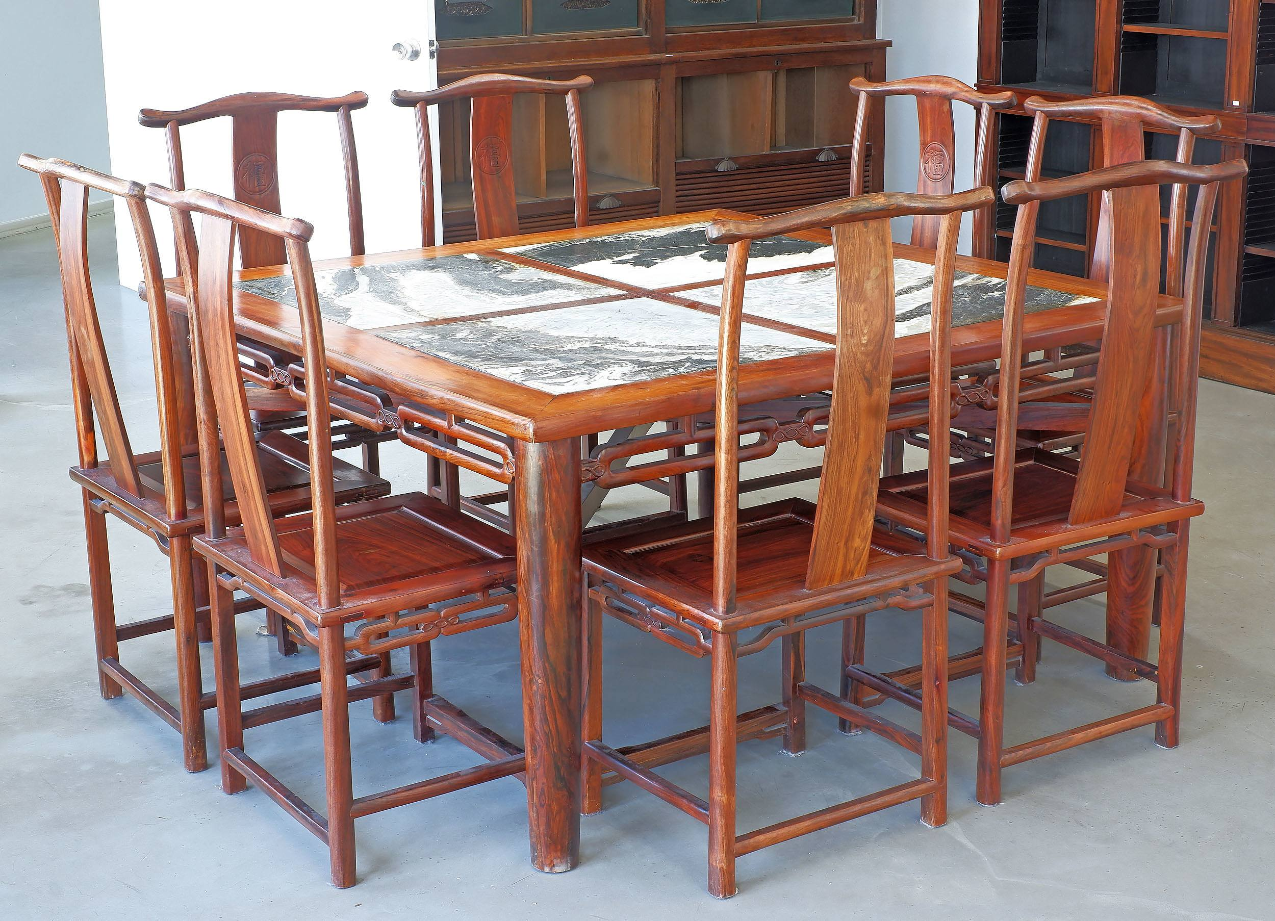 'Superb Chinese Huanghuali Rosewood and Dali Marble Square Dining Table and Eight Hat-Hanger Chairs Carved with Fu (Good Fortune) Character, Republic Period'