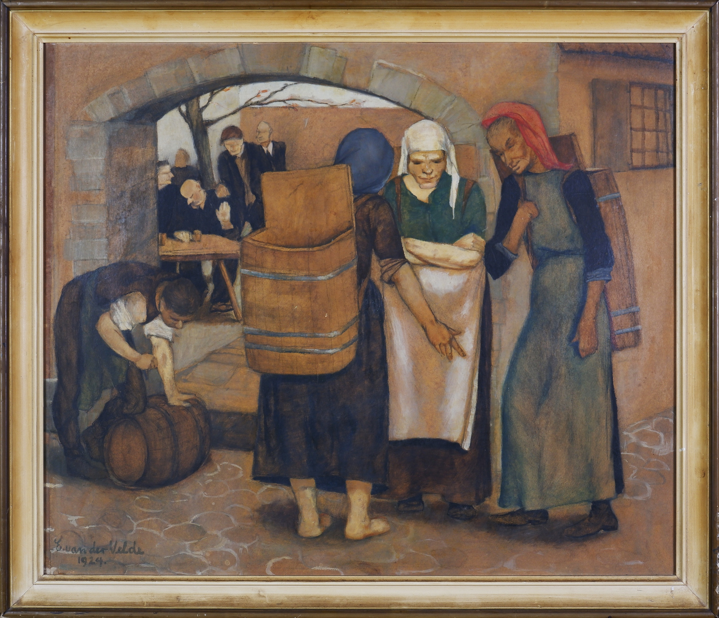 'E. van der Velde (20th Century), Untitled (Marketplace Scene) 1924, Oil and Pencil on Paper on Board, 55 x 65 cm'