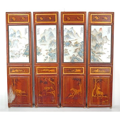 Chinese Four-Fold Floor Screen Inset with Hand Painted Famille Rose Porcelain Landscape Plaques, 20th Century