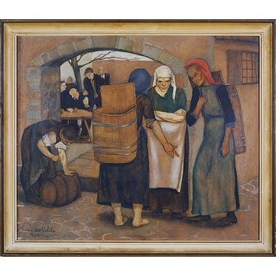E. van der Velde (20th Century), Untitled (Marketplace Scene) 1924, Oil and Pencil on Paper on Board