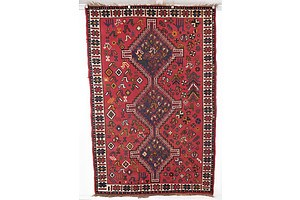 Vintage Persian Qashqai Hand Knotted Wool Pile Rug