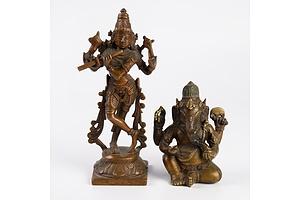 Indian Cast Bronze Figure of Ganesh and Krishna