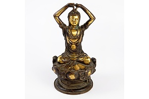 Chinese Liao Style Figure of Buddha Jalandhara with Arms Held Above His Head