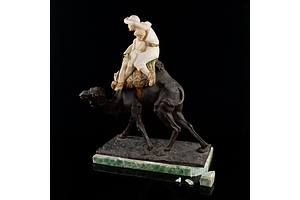 Emilio Fiaschi (Italian 1858-1941) Orientalist Cold Painted Bronze and Alabaster Model of an Arabian Cameleer, Late 19th Century