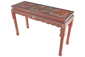 Chinese Red and Polychrome Lacquered Altar Table with Incised Borders and Details, 20th Century