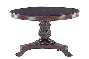 Australian Cedar Breakfast Table with Boldly Carved Acanthus Carved Column and Paw Feet, Circa 1860s