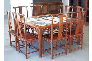 Superb Chinese Huanghuali Rosewood and Dali Marble Square Dining Table and Eight Hat-Hanger Chairs Carved with Fu (Good Fortune) Character, Republic Period