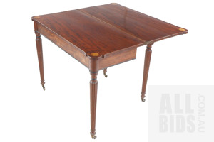 George III 'Plum Pudding' Mahogany Gateleg Fold Over Tea Table, Circa 1800