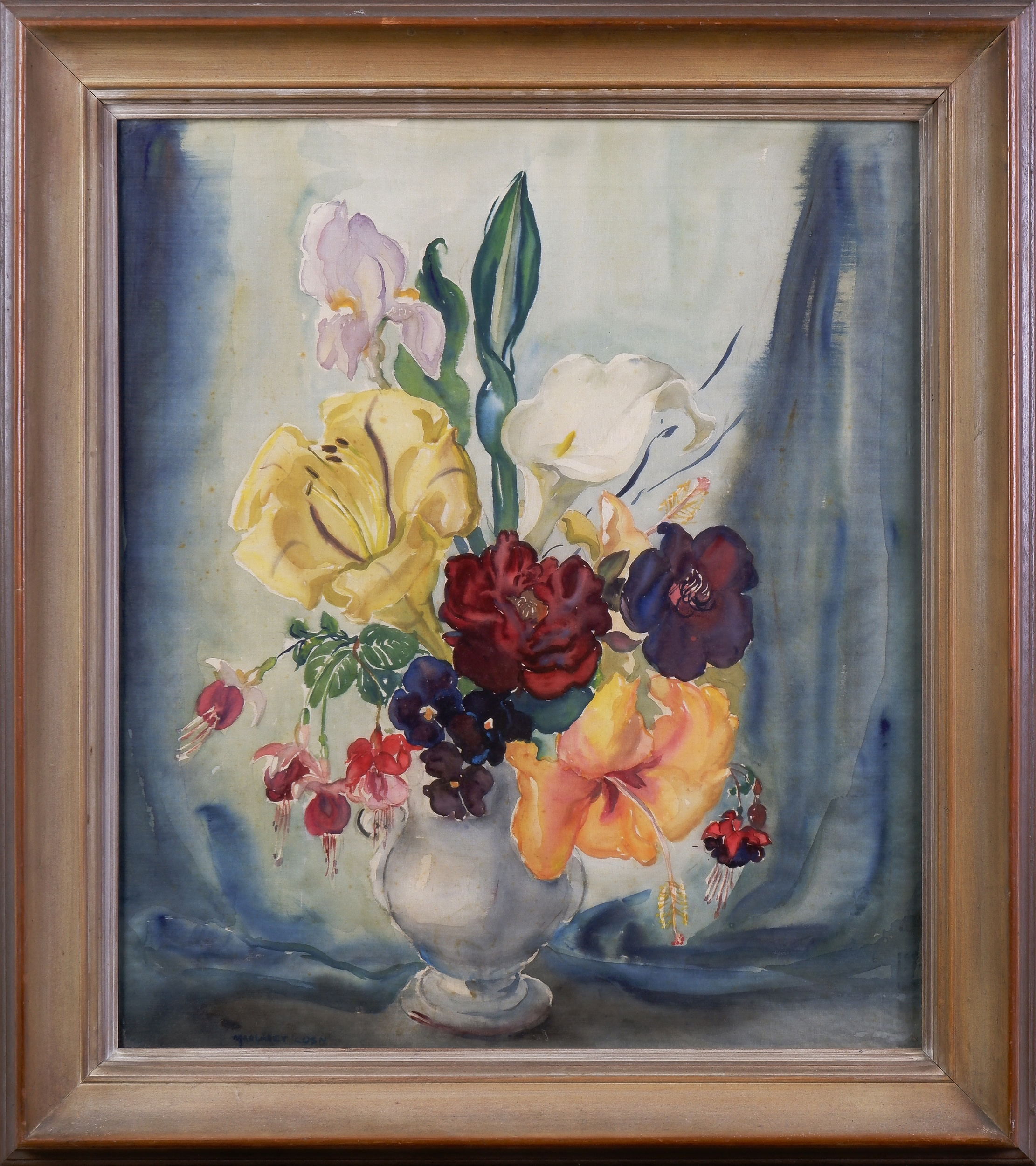 'Margaret Coen (1913-1993), Untitled (Still-Life) Watercolour on Silk, 48 x 42 cm'