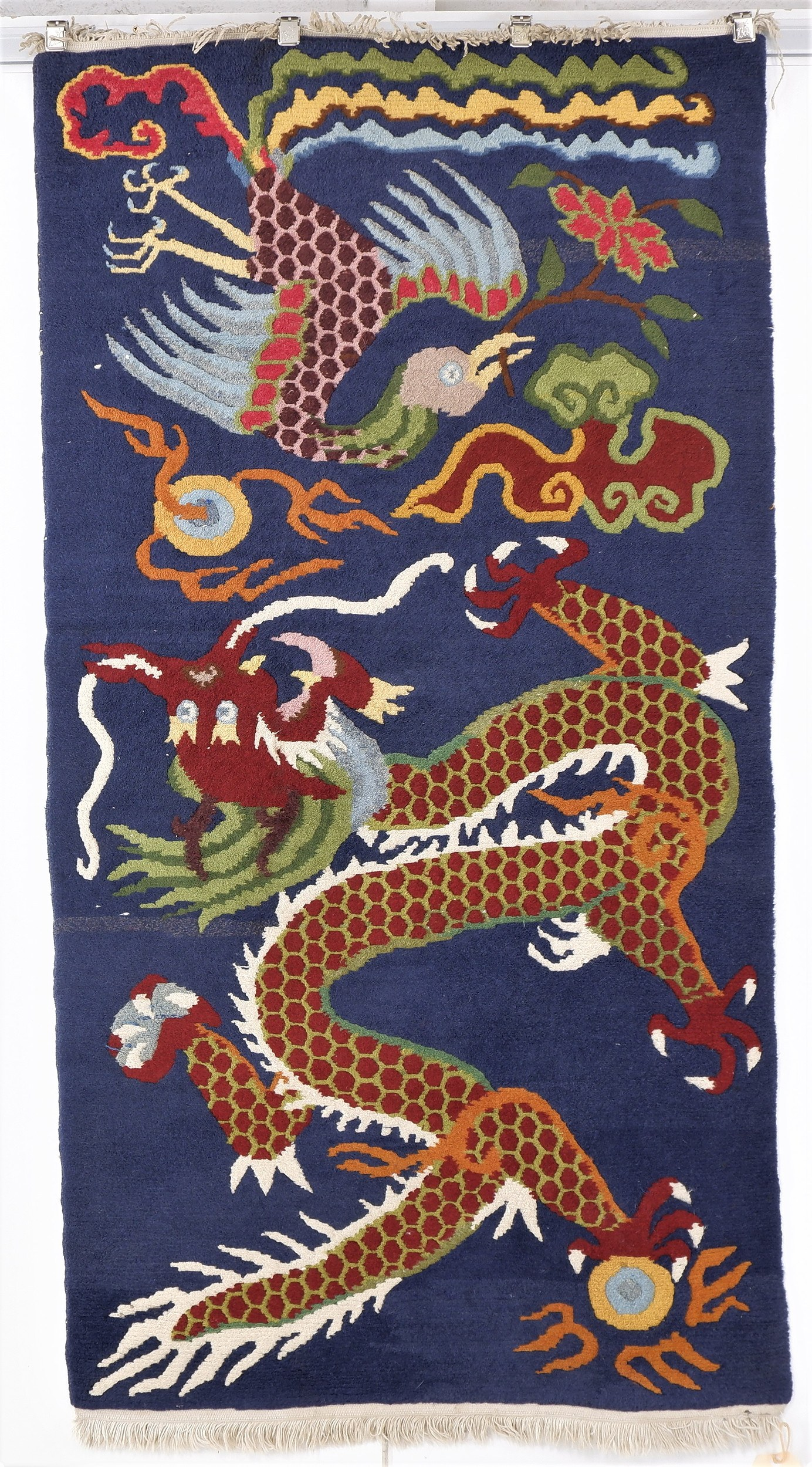 'Chinese Hand Knotted Thick Wool Rug with Phoenix and Dragon Design '
