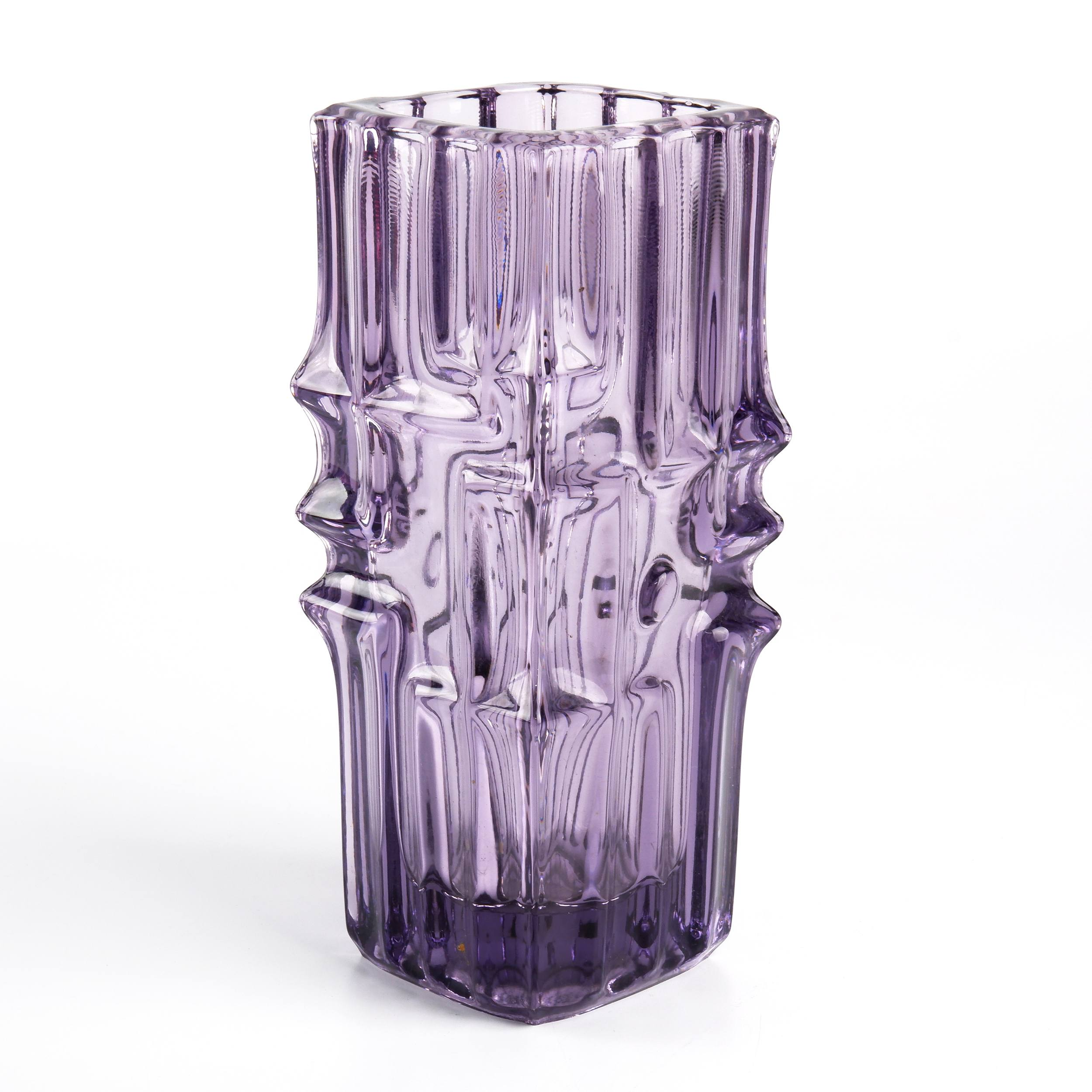 'Retro Purple Moulded Glass Vase by Vladislav Urban for Risico Glasswork Sklo Union, Circa 1967'