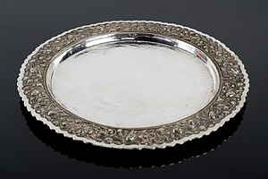 Yogya .800 Silver Tray with Heavily Repousse Border