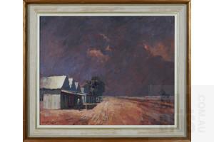 Robert Lovett (born 1930), Oodnadatta, Oil on Board, 43 x 54 cm