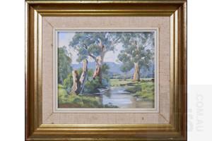 Gerard Mutsaers (born 1947), The Yarra at East Sevill 1974, Oil on Board, 19 x 24 cm