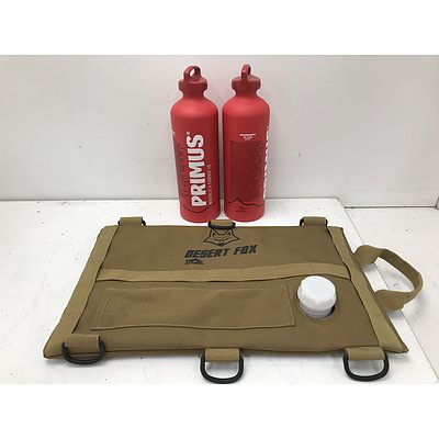Desert Fox 3L Fuel Cell and Primus 890ml Fuel Bottles