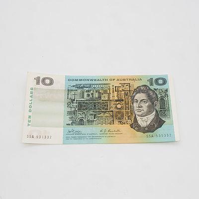 $10 1968 Phillips Randall Australian Ten Dollar Banknote R303 SSA531332