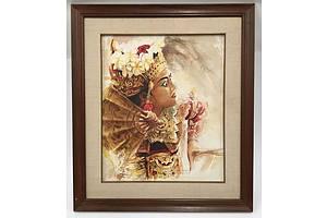 Balinese School, Legong Dancer, Tempera on Canvas
