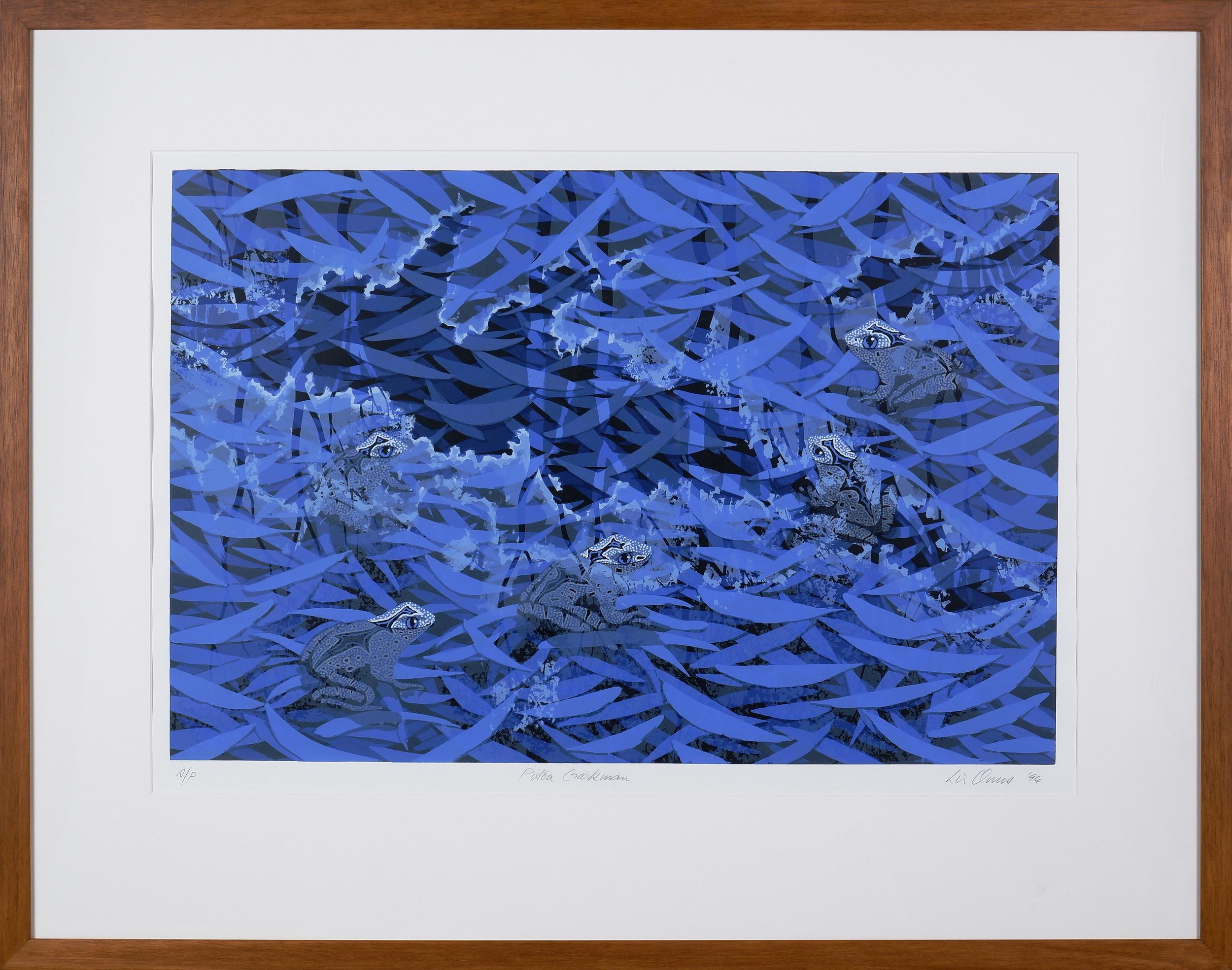 'Lin Onus (1948-1996 Yorta Yorta language group), Pitoa Garkman 1994, Screenprint A/P, 50 x 70 cm  '