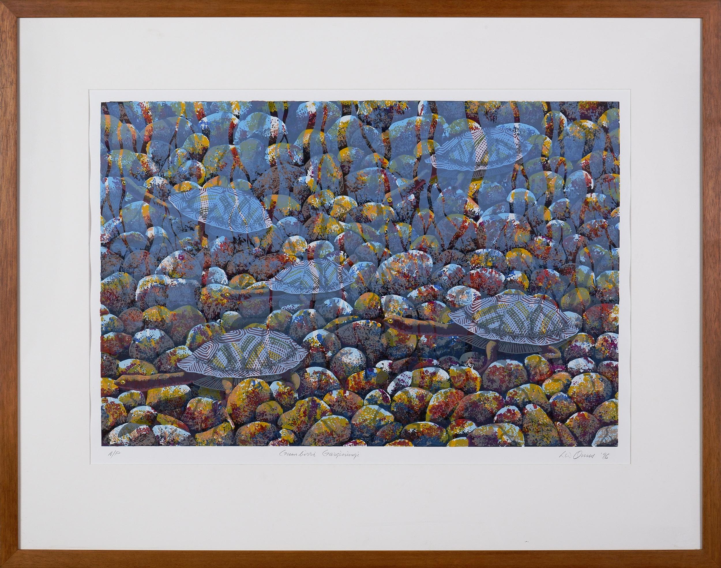 'Lin Onus (1948-1996 Yorta Yorta language group), Gumbirri Garganingi 1996, Screenprint A/P, 50 x 70 cm (image size)'