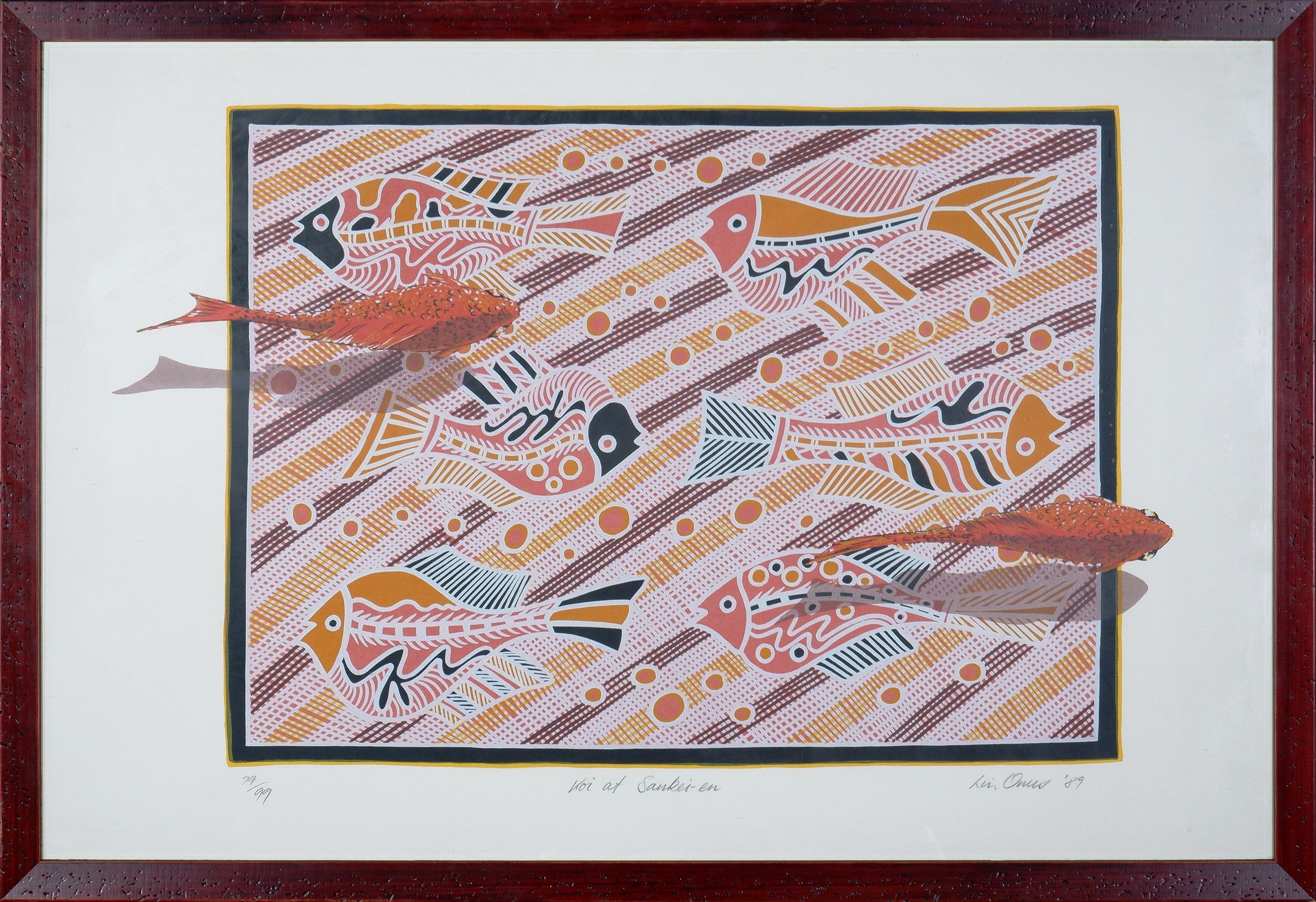 'Lin Onus (1948-1996 Yorta Yorta language group), Koi at Sankei-En 1989, Screenprint, 50 x 70 cm  (image size)'