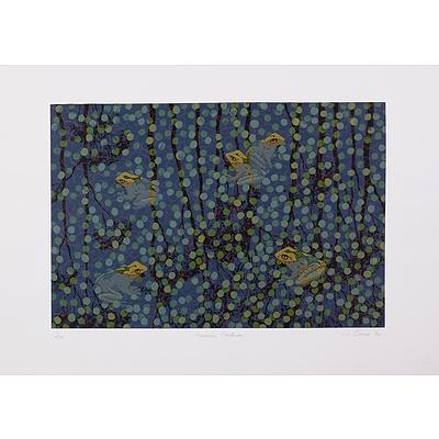 Lin Onus (1948-1996 Yorta Yorta language group), Gumiring Garkman 1994, Screenprint, 50 x 70 cm (image size)