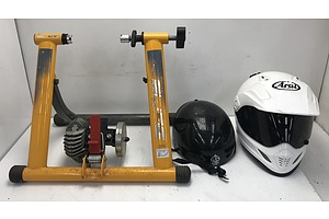 Elite Bike Trainer, Motorbike helmet and Bike Helmet