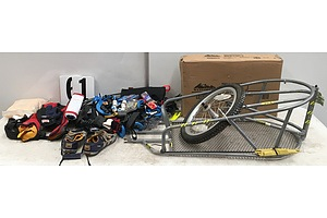 Large Assortment Of Bicycle Accessories, LifeJackets, Fishing Rod And Bike Rack