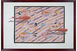 Lin Onus (1948-1996 Yorta Yorta language group), Koi at Sankei-En 1989, Screenprint, 50 x 70 cm (image size)