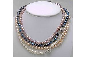 Set Of 4 Pearl Necklaces-White, Black, Peach, Lilac