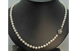 Akoya (Japanese) Cultured Pearl Necklace With Silver Clasp