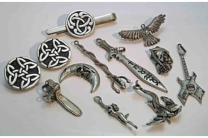 Collection Of Pewter Celtic And Gothic Jewellery